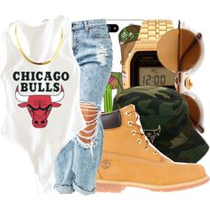 Chicago Bulls by queenc98 on Polyvore featuring polyvore, fashion, style, Timberland and Casio