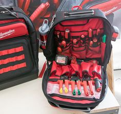 Here is a look at all of the new tools we saw at Milwaukee's recent media event. Tool Backpack, Tool Pouch, Tool Box, Backpack Organization, Garage Organization, New Milwaukee Tools, Kaizen Foam, Best Woodworking Tools, All Tools