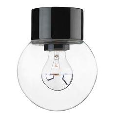 Porslinslampa med kupa och rak sockel (IP20) Svart