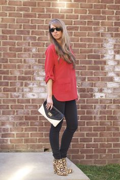 love this look...Anthropologie red blouse with black pants and leopard booties