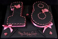 Let's look at possible birthday cake designs for a girls 18th birthday featuring cakes in the shape of the number 18!