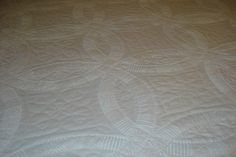 White Double Wedding Ring Quilt King Size Hand by softpatches
