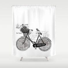 Bicycle Shower Curtain - World Tour , France,  white, bike, map, unique, vintage look,  travel decor, bath, home