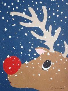 Rudolph The Red Nosed Reindeer Canvas Print by Paula Weber Rudolph The Red Nosed Reindeer Painting by Paula Weber Preschool Christmas, Noel Christmas, Christmas Activities, Christmas Crafts For Kids, Xmas Crafts, Christmas Decorations, Christmas Scenes, Christmas Stockings, Christmas Art Projects