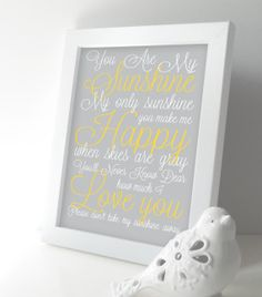 You are My Sunshine Nursery Art Print - Baby Boy / Girl Nursery Wall Art - Lullaby Subway Art 8x10 Kids Room - Yellow and Gray