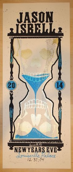 """Jason Isbell - silkscreen concert poster (click image for more detail) Artist: Andrew Vastagh Venue: Louisville Palace Location: Louisville, KY Concert Date: 12/31/2014 Size: 10"""" x 24"""" Edition: Artist"""