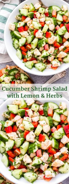 This Cucumber Shrimp Salad with Lemon and Herbs is bright, fresh and full of flavor! Made with simple, healthy ingredients and it couldn't be easier to make! salad shrimp shrimpsalad cucumber ea is part of Shrimp salad - Herb Recipes, Seafood Recipes, Gourmet Recipes, Cooking Recipes, Fresh Salad Recipes, Healthy Salad Recipes, Healthy Snacks, Healthy Salads For Dinner, Cold Shrimp Salad Recipes
