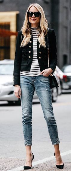 casual style obsession / blazer + stripped top + skinnies + bag + heels