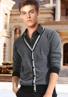 Camisa de Malha Masculino de Cor Pura na Moda €23.99 Men Sweater, Sweaters, Shopping, Fashion, Color, Men, Men's, Outfits, Moda