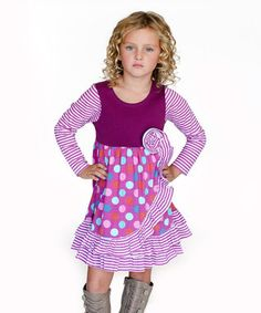Purple Party Dot Paige Ruffle Dress - Infant, Toddler & Girls