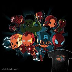 Get the black official Marvel t-shirt only at TeeTurtle! Exclusive graphic designs on super soft cotton tees. Marvel Avengers, Avengers Shirt, Chibi Marvel, Avengers Cartoon, Marvel Cartoons, Marvel Shirt, Marvel Comics, Hawkeye, Avengers Drawings