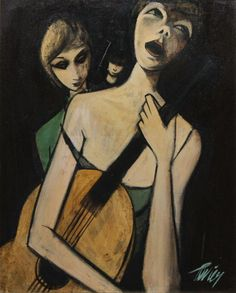 "Charles Levier, Chanteuse de Rue, oil on canvas, 24"" x 19 3/4"""