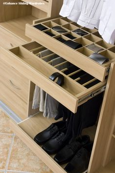 Divided drawer, trouser rack and pull out shoe shelf in Oak #storage #organize #wardrobe // Designed by Enhance Sliding Wardrobes www.enhanceslidingwardrobes.com