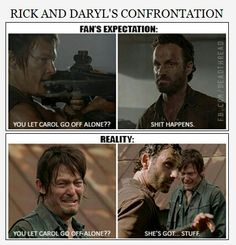 Daryl and Rick about Carol leaving the group - fan's expectation / reality | The Walking Dead funny meme