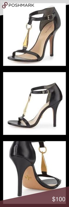 Pour la Victoire Dress Sandal with Gold Detail Whether you wear these shoes with your favorite LBD or with a pair of jeans, your look will be elevated! Also available in a creamy off white. New in box, with shoe bags. Pour la Victoire Shoes