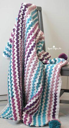 Crochet Cluster V-Stitch Blanket By Sarah Zimmerman - Free Crochet Pattern - (ravelry)