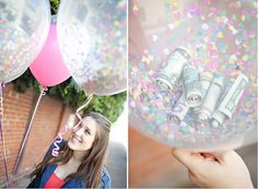This confetti balloon DIY comes straight from one of my favorite blogs – Sugar and Charm. A great playful idea for your bridal shower or bachelorette party. Hide your money gift inside clear balloons that you have filled with lots of colorful confetti. The bride pops the balloon, gets her cash and is showered…