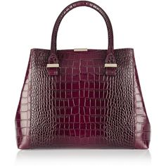 Victoria Beckham Quincy croc-effect leather tote ($1,515) ❤ liked on Polyvore featuring bags, handbags, tote bags, сумки, leather tote, tablet purse, purple leather tote, genuine leather handbags und crocodile leather handbags