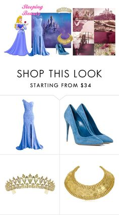 """Sleeping Beauty"" by atenaide86 ❤ liked on Polyvore featuring Disney, Alexander McQueen, Kate Marie and Balmain"