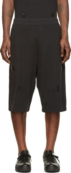 Damir Doma: Black Destroyed Heavy Jersey Tjome Shorts
