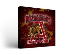 Arkansas Razorbacks Canvas Art by Guy Harvey Square