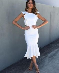 Ruffles Sleeveless Mermaid Dress Women Summer Backless Bodycon Dress Casual White Party Night Dress Laides Size S Color Pink Summer Dresses With Sleeves, Summer Dresses For Women, Winter Dresses, Casual Dresses, Fashion Dresses, Dress Outfits, Midi Dresses, Dresses Dresses, Elegant Dresses