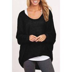 Yoins Yoins Black Loose Women Casual Blouse (39 BRL) ❤ liked on Polyvore featuring tops, blouses, black, shirts & blouses, long black top, bat sleeve shirt, long tops, black top and long black blouse