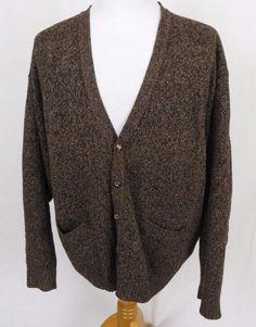 Pendleton Shetland Cardigan XL Virgin Wool 5 Leather Button Brown V-Neck Sweater #Pendleton #Cardigan