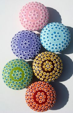 Set of 6 Dotted Drawer Knobs: Green, Red, Brown, Blue, Lavender and Pink Spotted Drawer Pulls via Etsy