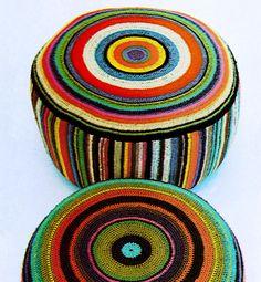 L♥VE! ~ Giant Floor Cushion Pillow * Chevron Bullseye Vintage 1970s Crochet Pattern PDF via Etsy.