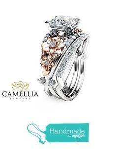 Moissanite Engagement Ring Set Floral 14K Two Tone Gold Ring with Matching Band from Camellia-Jewelry http://www.amazon.com/dp/B01C72MG3M/ref=hnd_sw_r_pi_dp_t0swxb1ETX1TZ #handmadeatamazon
