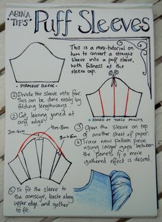 Puff sleeve tutorial just in case you want to sew a pretty chiffon dress or blouse to look the alice way or add them to an existing garment team up with the peter pan collar tutorial on this board,cant sew yourself get mum to do it.Puff sleeve tutorial: p Sewing Hacks, Sewing Tutorials, Sewing Crafts, Sewing Projects, Sewing Patterns, Sewing Tips, Dress Patterns, Shirt Patterns, Dress Tutorials