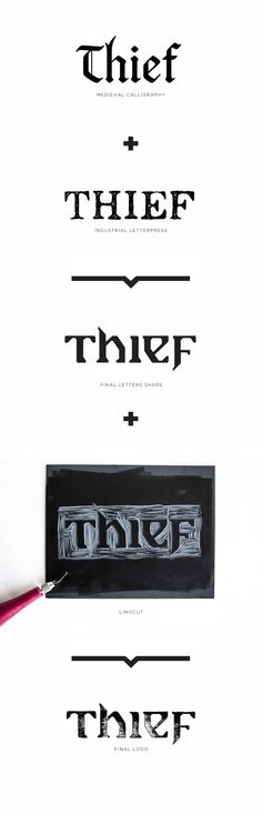 Thief video game, logo and font by Gabriel Lefebvre, via Behance