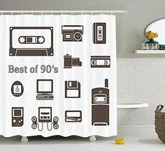 Video Game Shower Curtain 90s Decorations by Gadget of 90s Icons Pattern With Desktop Computer Video Game Joystick Nostalgia Theme Polyester Fabric Bathroom Brown ** Want to know more, click on the image.