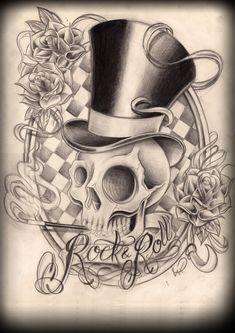 ~A Cool Tattoo Rock n Roll Skull Illusion ~ Skull Tattoos, Body Tattoos, Tatoos, Rock N Roll Tattoo, Poker Tattoo, Skull Sketch, Totenkopf Tattoos, Tatuajes Tattoos, Skull And Bones