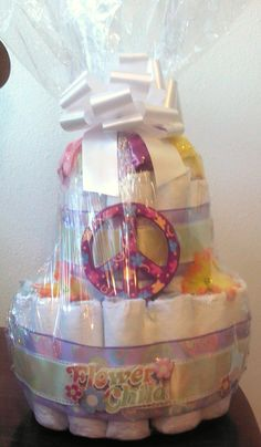 """2 tier """"Hippy / Flower Child"""" Diaper Cake ~ Perfect for baby shower or 1st holiday gift ~ Pretty & Practical! - $30"""