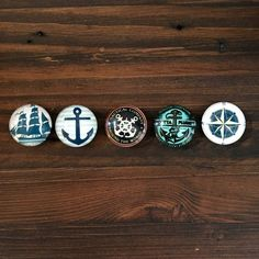 Nautical Magnets Set of 5 Navy, Anchors, Compass, Sea, Sail, Ship,Kühlschrank,Цветы,magnete,aimant,magneet,magnético, imán, maighnéad,магнит