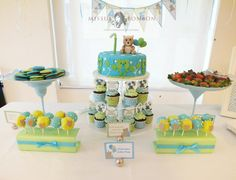 Teddy themed desserts in a cheerful color scheme of blue, green and white!