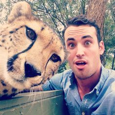 Cheetah Selfie Cameron Ernst, Tourism Australia Cameron Ernst, who won Tourism Australia's Best Job In The World competition, took this selfie with a cheetah at the National Zoo in Canberra....