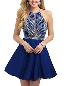 Chic A Line Halter Backless Sequins Dresses For 8th Grade Graduation Royal Blue US22W - Brought to you by Avarsha.com