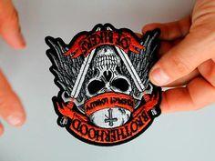Brotherhood of Bikers Respect and Loyalty Skull Patch Biker Wear, Biker Patches, Bikers, Loyalty, Respect, Black And Grey, Skull, Take That, Christmas