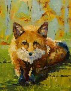 ARTOUTWEST DIANE WHITEHEAD Fox Wildlife oil painting original -- Diane Whitehead