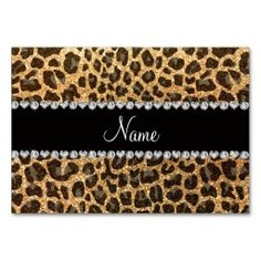Custom name pastel yellow glitter leopard print table cards