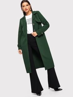 Single Breasted Notch Neck Solid Coat | SHEIN