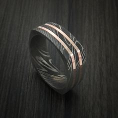 Squared Damascus Steel Ring with 14k Rose Gold Inlays Custom Made Band