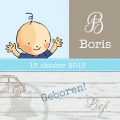 Hip drieluik geboortekaartje met blij jongetje en hip houten scherm met verschillende stempels er op.