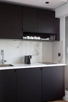 & & & & My Concept Home - Rnovation of apartment Paris - Small Kitchen Cabinet Design, Small Kitchen Cabinets, Kitchen Room Design, Home Decor Kitchen, Kitchen Interior, Open Plan Kitchen Diner, Kitchen Sets, Small Apartment Design, Retro Home Decor