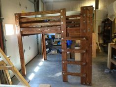 Queen loft bed made from plans available here:  http://www.palmettobunkbeds.com/product/queen-loft-bed-plans/