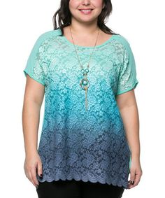 Look what I found on #zulily! Teal Lace Scoop Neck Top & Necklace - Plus #zulilyfinds