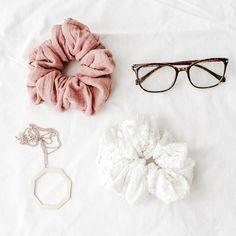 Such a cute flatlay -- click the link to shop these scrunchies Flat Lay Photography, Jewelry Photography, Product Photography, Handmade Hair Accessories, Head Accessories, Diy Hair Scrunchies, Blog Backgrounds, Fru Fru, Up Dos